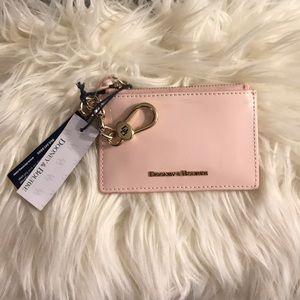 Dooney & Bourke Authentic top zip card holder pink